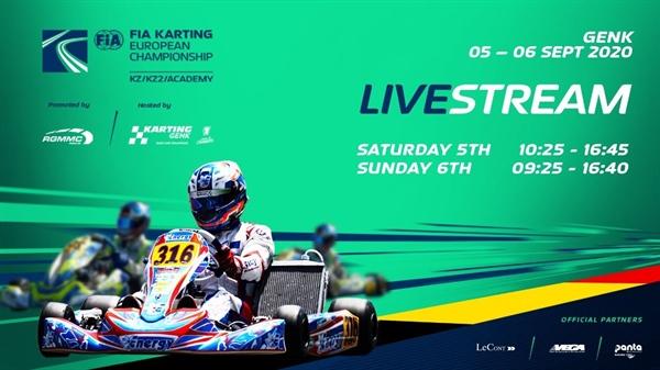 Sunday Livestream: 2nd round of the FIA Karting European Championship KZ, KZ2 and Academy Trophy at Genk
