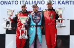 Maranello Kart on the podium in Sarno with Zanchetta and Pastacaldi