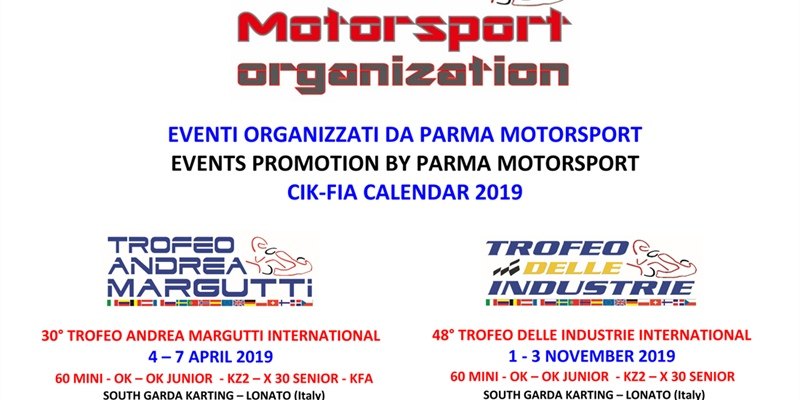 The events organized by Parma Motorsport in 2019:  30th Andrea Margutti Trophy on April 4-7, 2019...