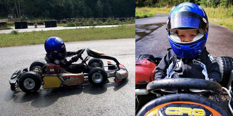 4-year old son of Kimi Raikkonen drives for the first time in a go-kart